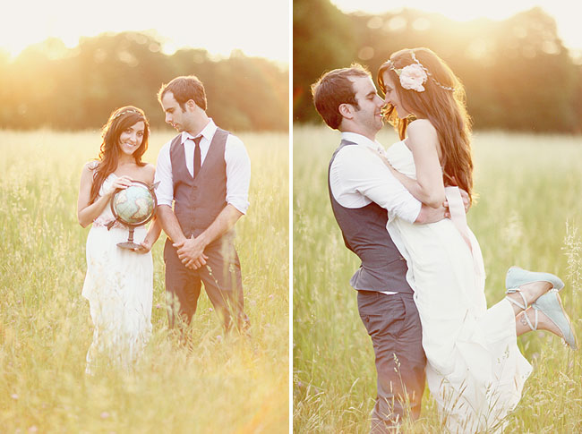 bride holding globe