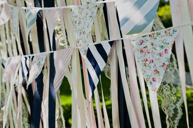 ribbon and bunting wall