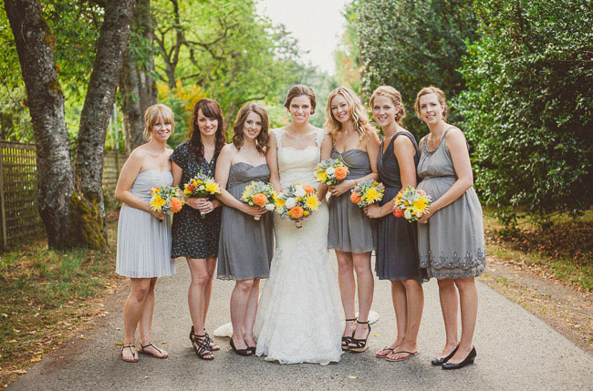 Canadian barn wedding amy david for Sunflower dresses for wedding
