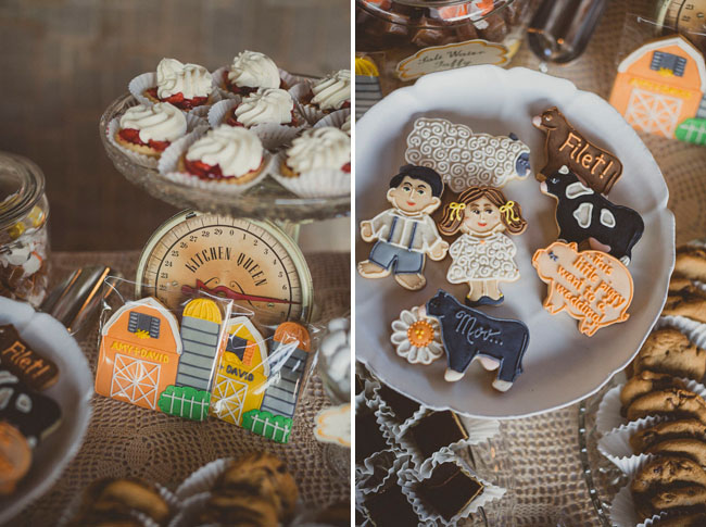 farm animal wedding cookies