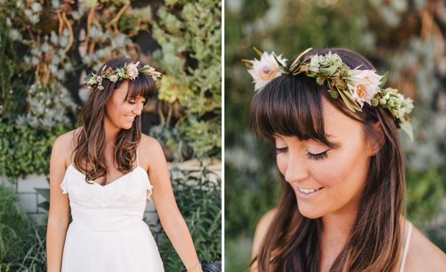 floral halo bride