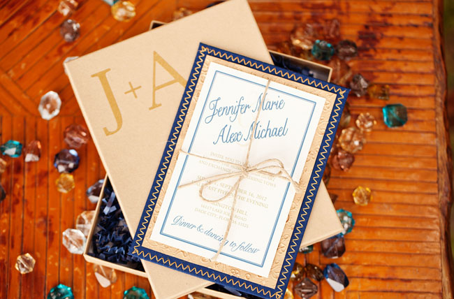 blue and yellow invite