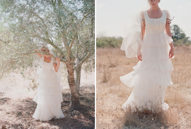 ruffle layered wedding dress