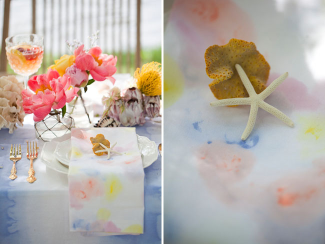 watercolor stained linens