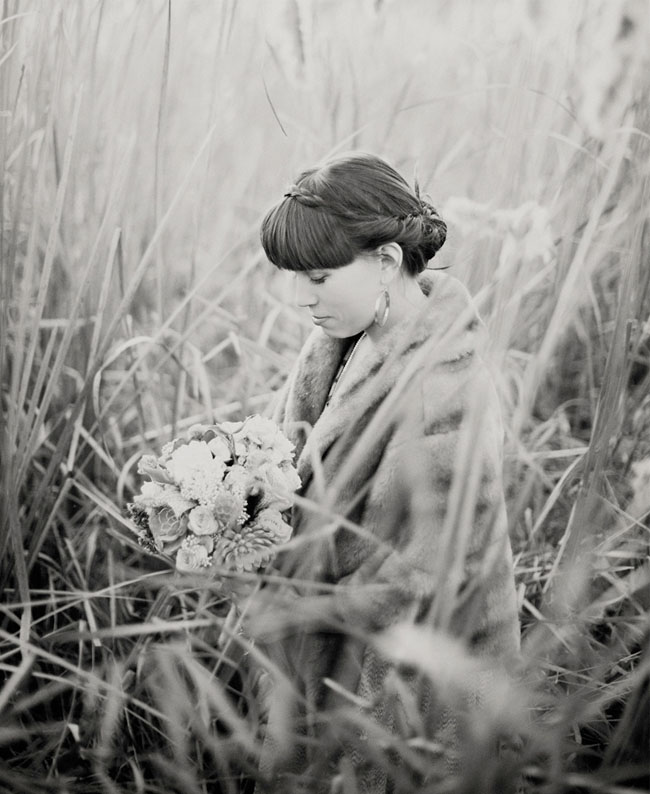 bride in tall grass