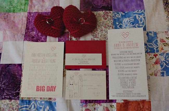 red heart wedding invitation