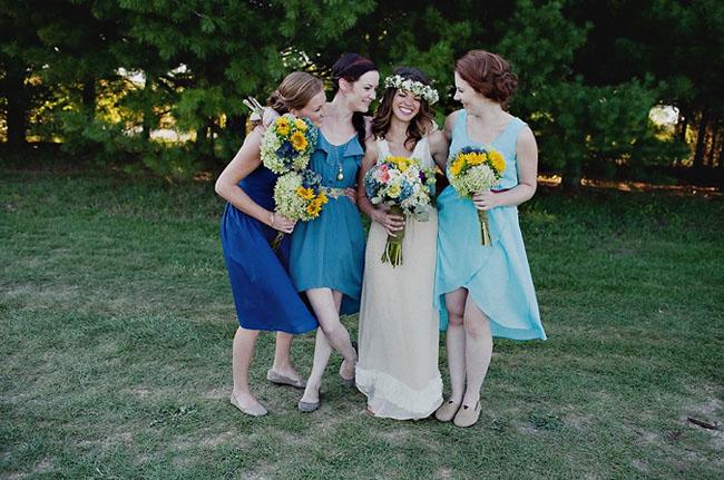 blue dress bridesmaids