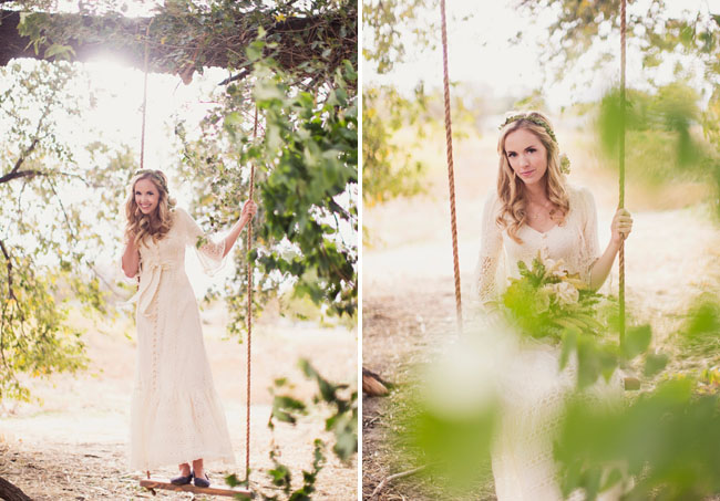 Wedding Dresses For Fall Wedding In The Woods bride on a swing