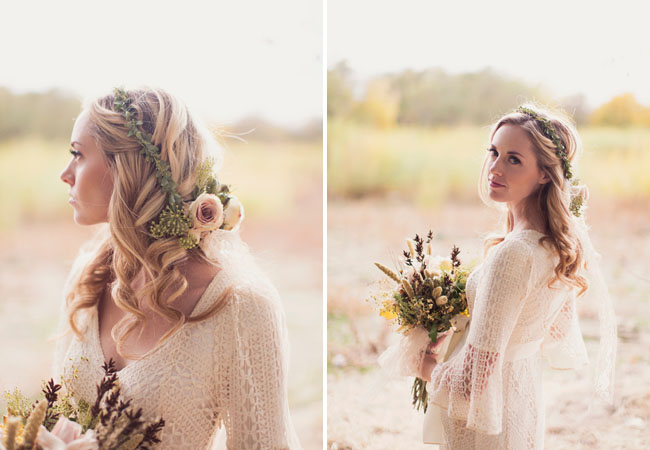 Wedding Dresses For Fall Wedding In The Woods flower crown