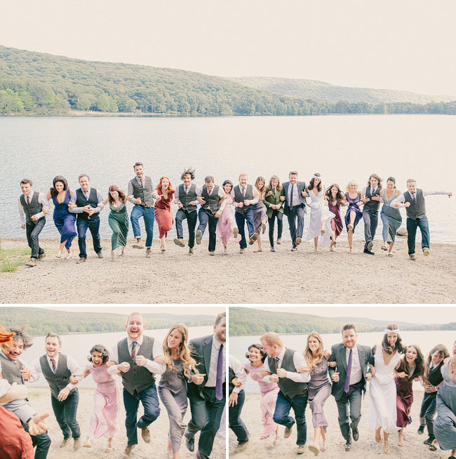 linked arms wedding party march