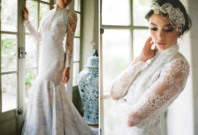 blue lace wedding dress
