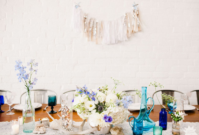 blue colored centerpieces