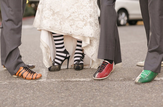 bride wearing striped socks