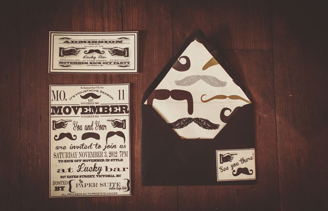 moustache wedding invitation
