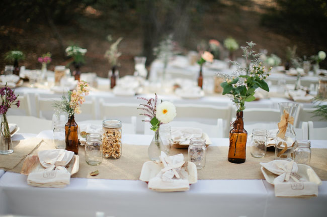 Eco friendly boho wedding jessica kevin - Decoration de table champetre ...