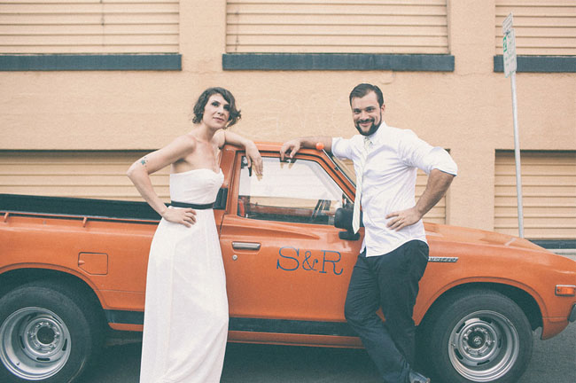 bride and groom orange truck