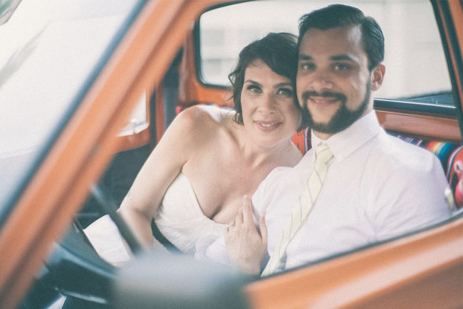bride and groom orange truck