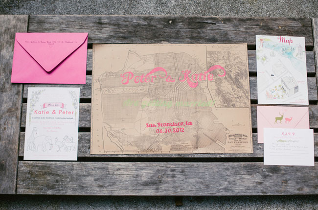 pink map invitation