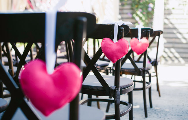 pink felt heart aisle holders