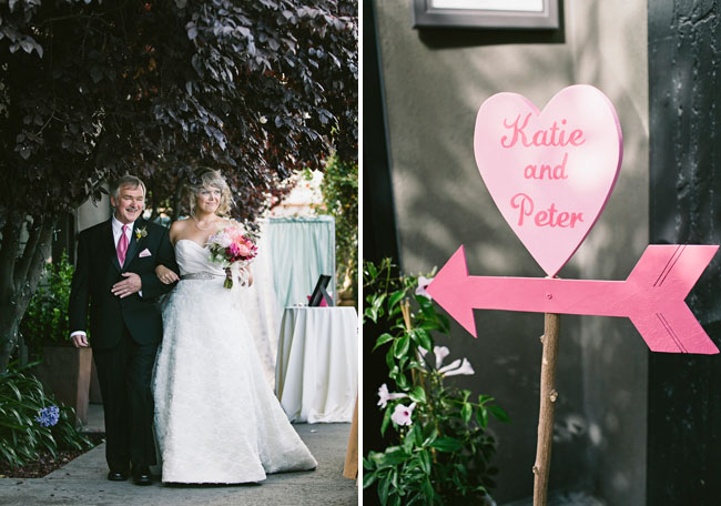 pink heart wedding sign