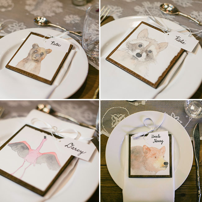 animal illustration place cards