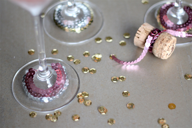 DIY Sequin Cocktail Glass Collars