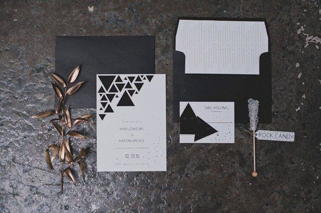 gold and geometric invitation