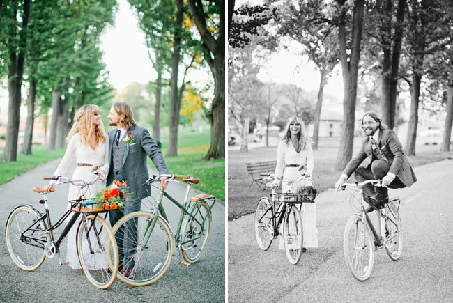 bride and groom on bikes