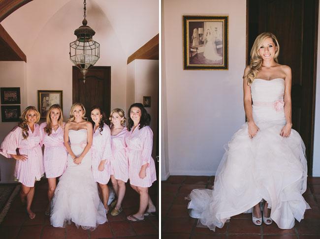 bride with pink belt