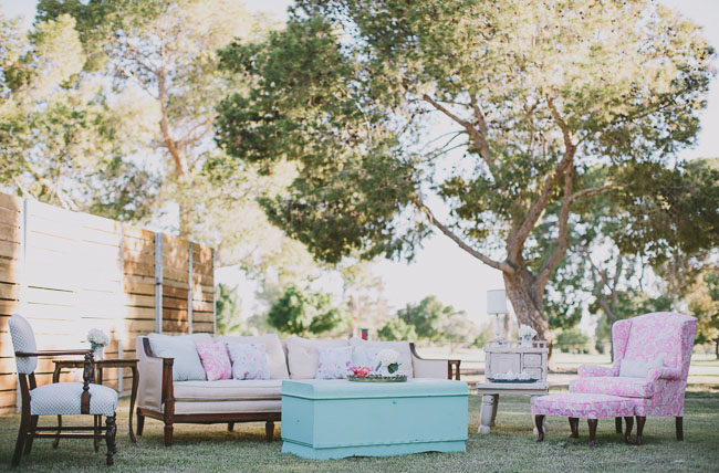 pink and teal lounge area