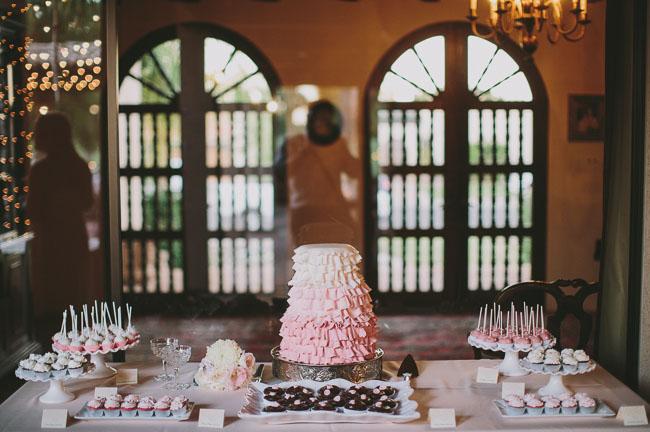 ruffled pink wedding cake