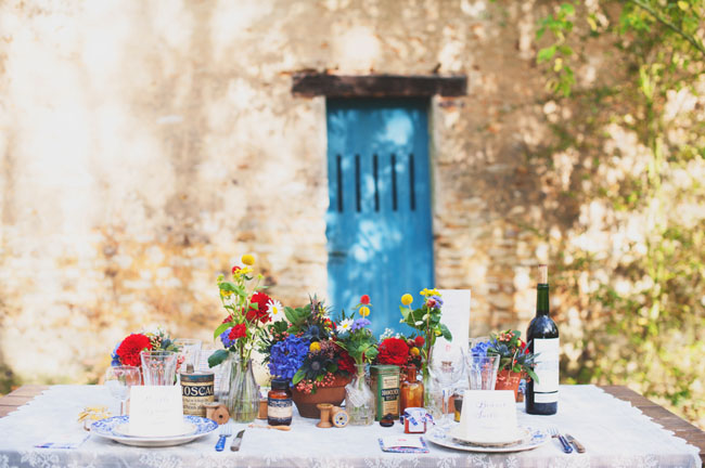 red and blue centerpieces