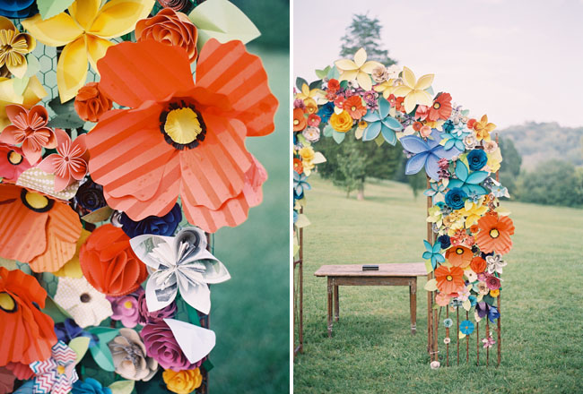 Colorful Paper Flower Wedding Caitlyn Joe Green Wedding Shoes