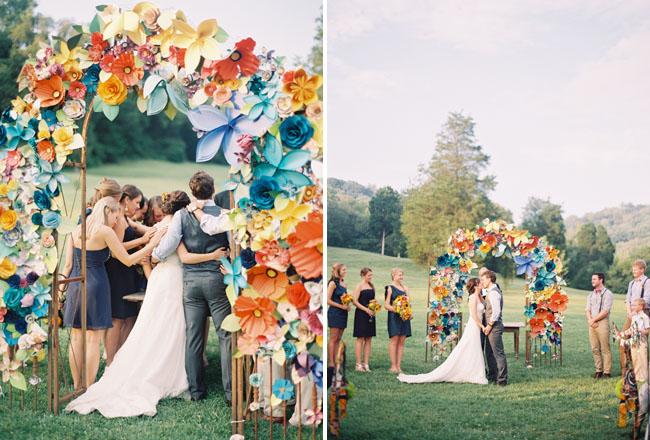 Colorful Paper Flower Wedding Caitlyn Joe