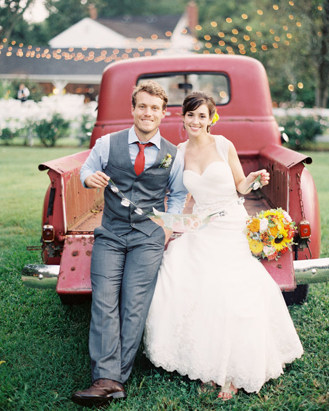 bride and groom red truck