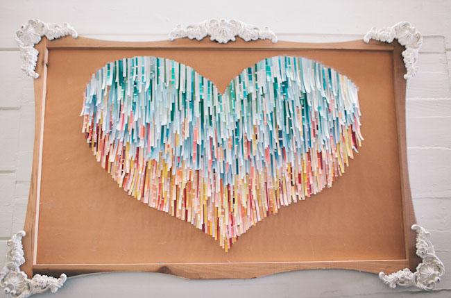 paint chip paper heart