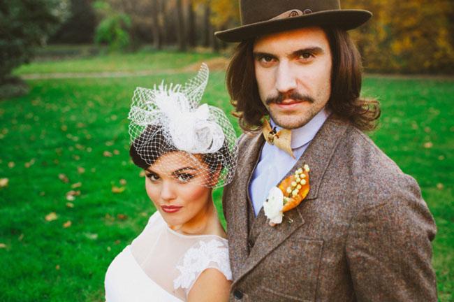 grooms wearing hat