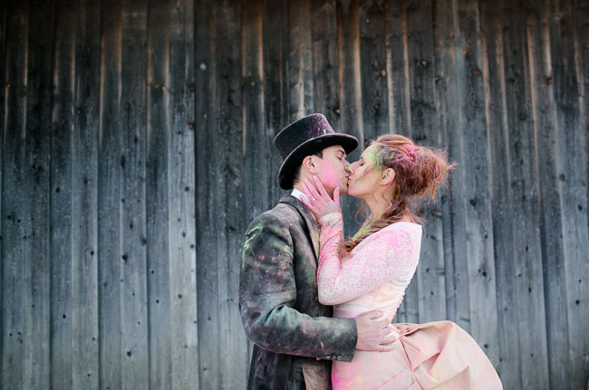 holi dust wedding party fight