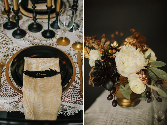 black feather place setting