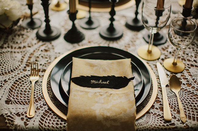 black and gold tablescape