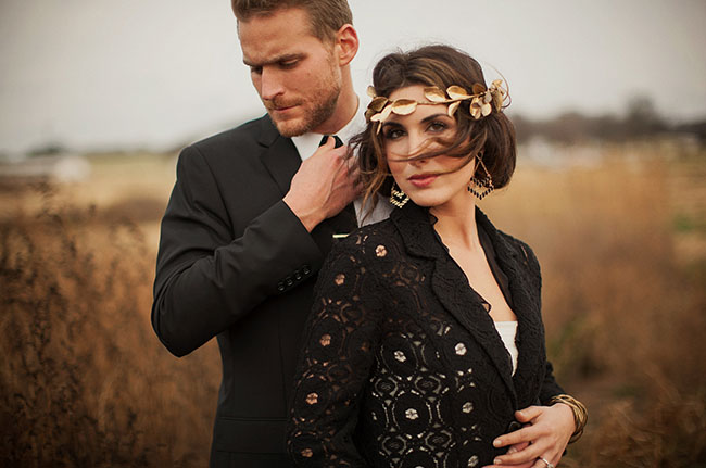 black and gold bridal jacket