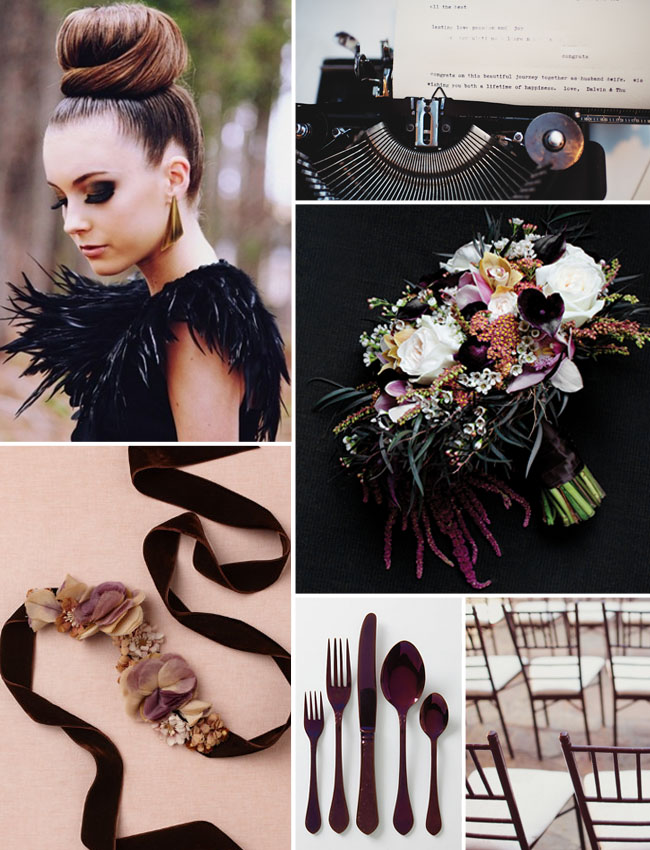 dark purple glam wedding board
