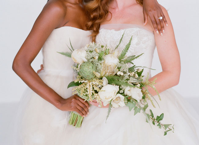 classic green and white bouquets