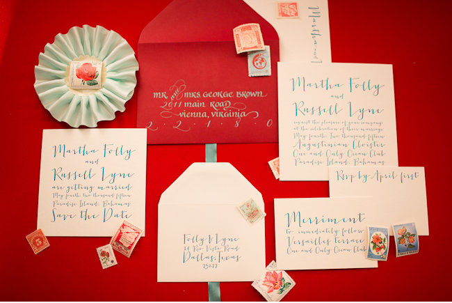 red and teal invitaiton