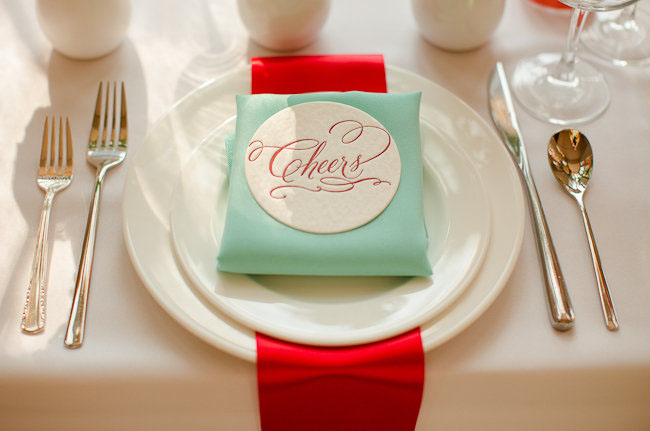 red and teal wedding colors