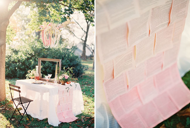 ombre book page table cloth