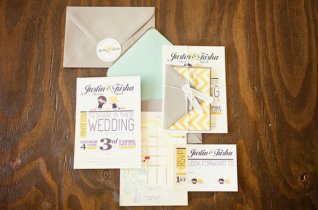 mint and yellow invitation