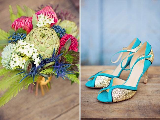 teal and gold heels