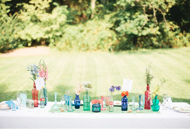 multiple colored vases