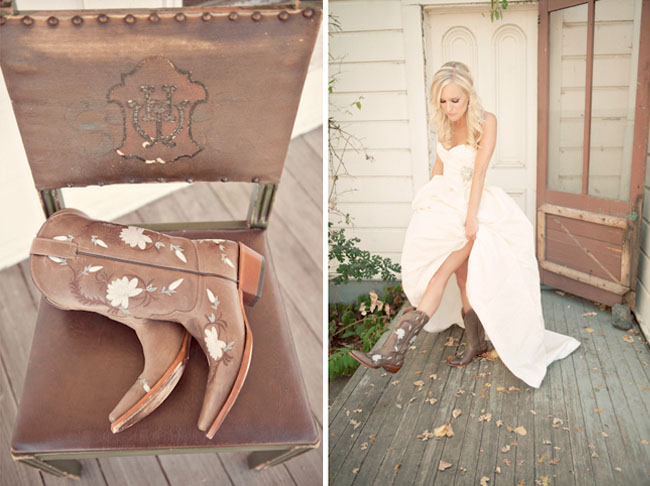Country western wedding jamie scott green wedding for Wedding dress with boots